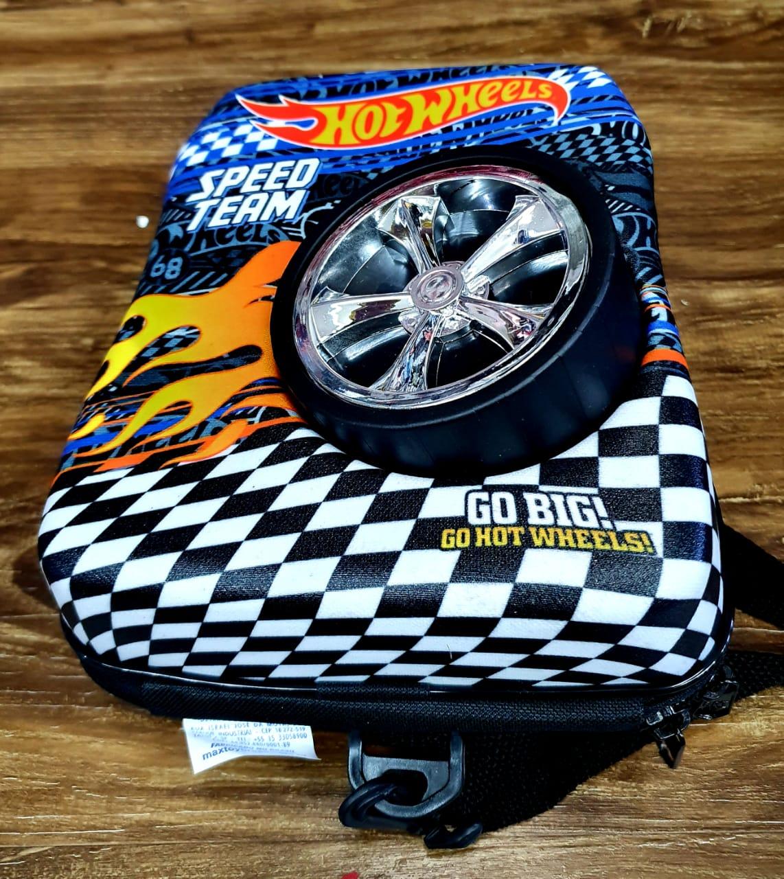 Mochila Hot Wheels Bone Shaker 3D com Rodinhas e Lancheira MaxToy