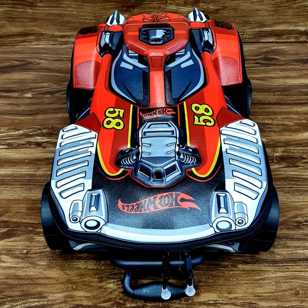 Mochila Hot Wheels Dune A Soar 3D com Rodinhas e Lancheira MaxToy