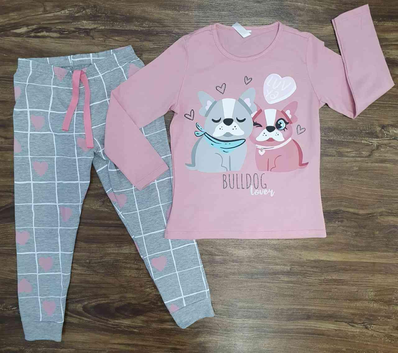 Pijama Bulldog Rosa Infantil
