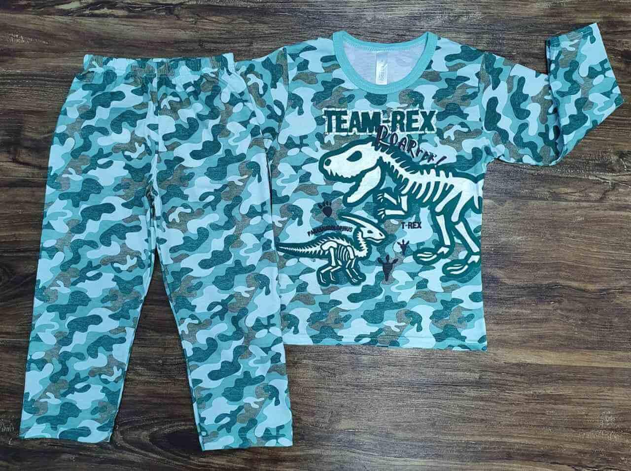 Pijama Dinossauro Brilha no Escuro Verde infantil