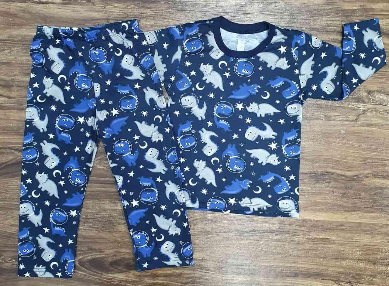 Pijama Dinossauro Brilha no Escuro Azul infantil