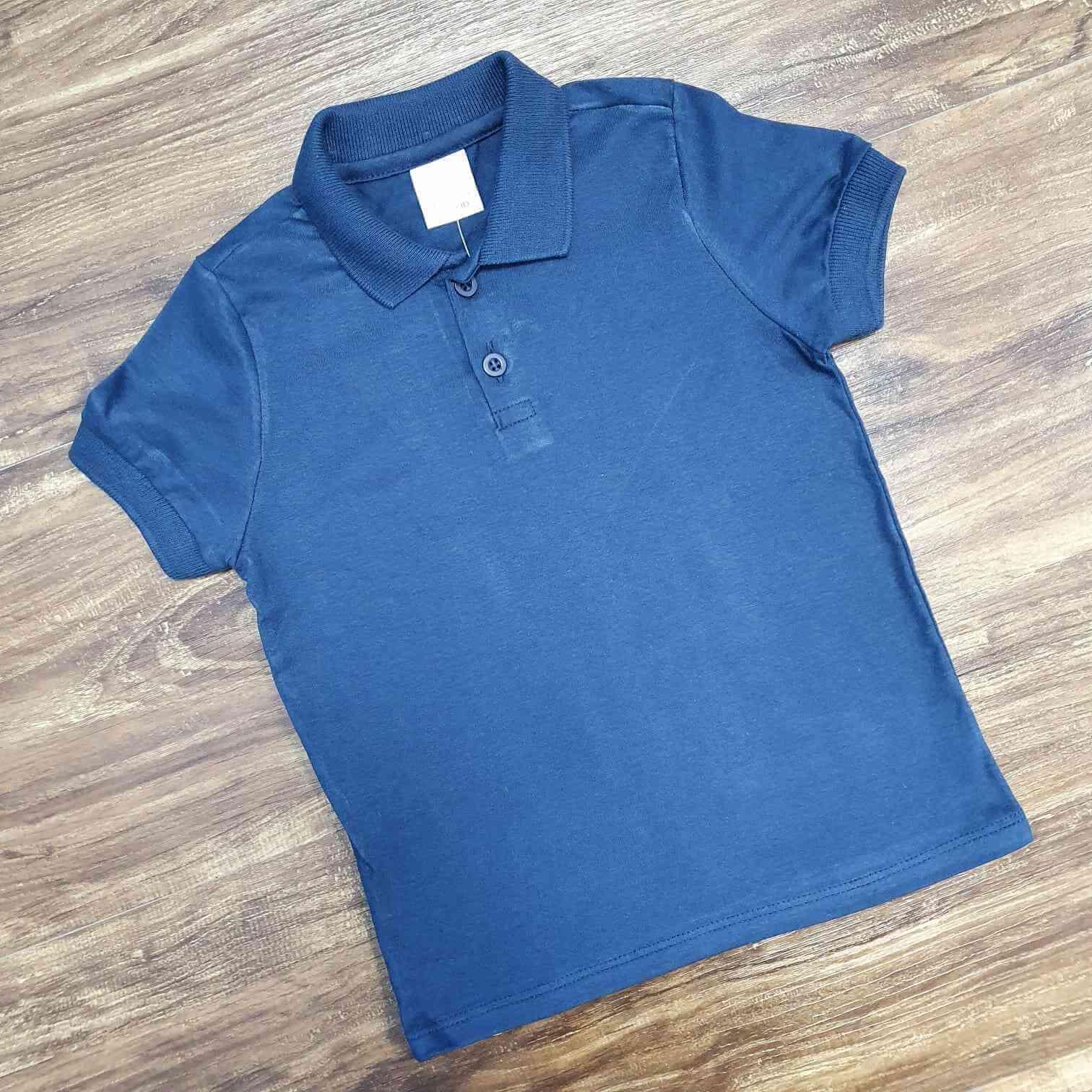 Polo Azul Marinho Básica Infantil