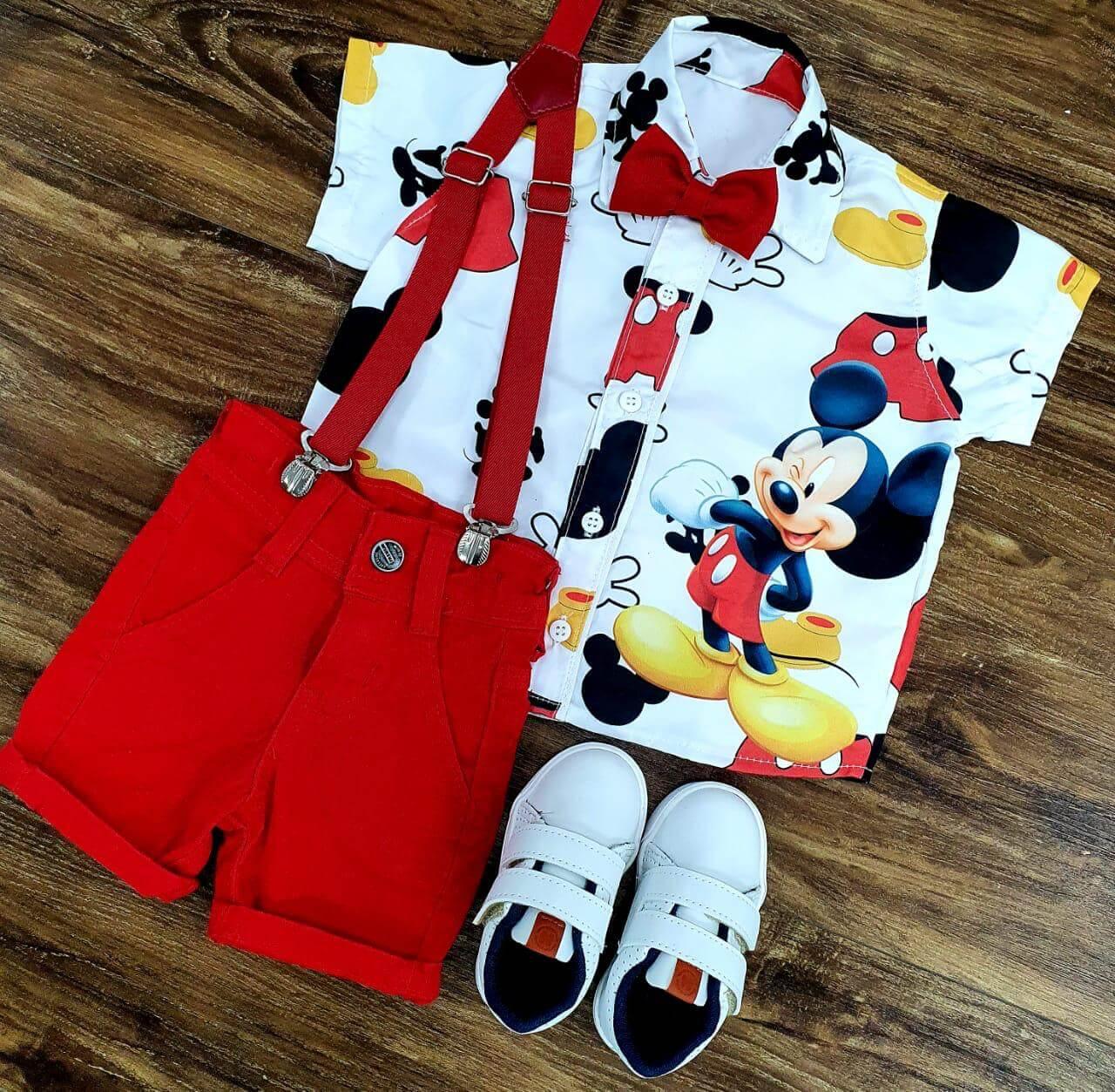 Conjunto Mickey Clássico Vermelho Infantil