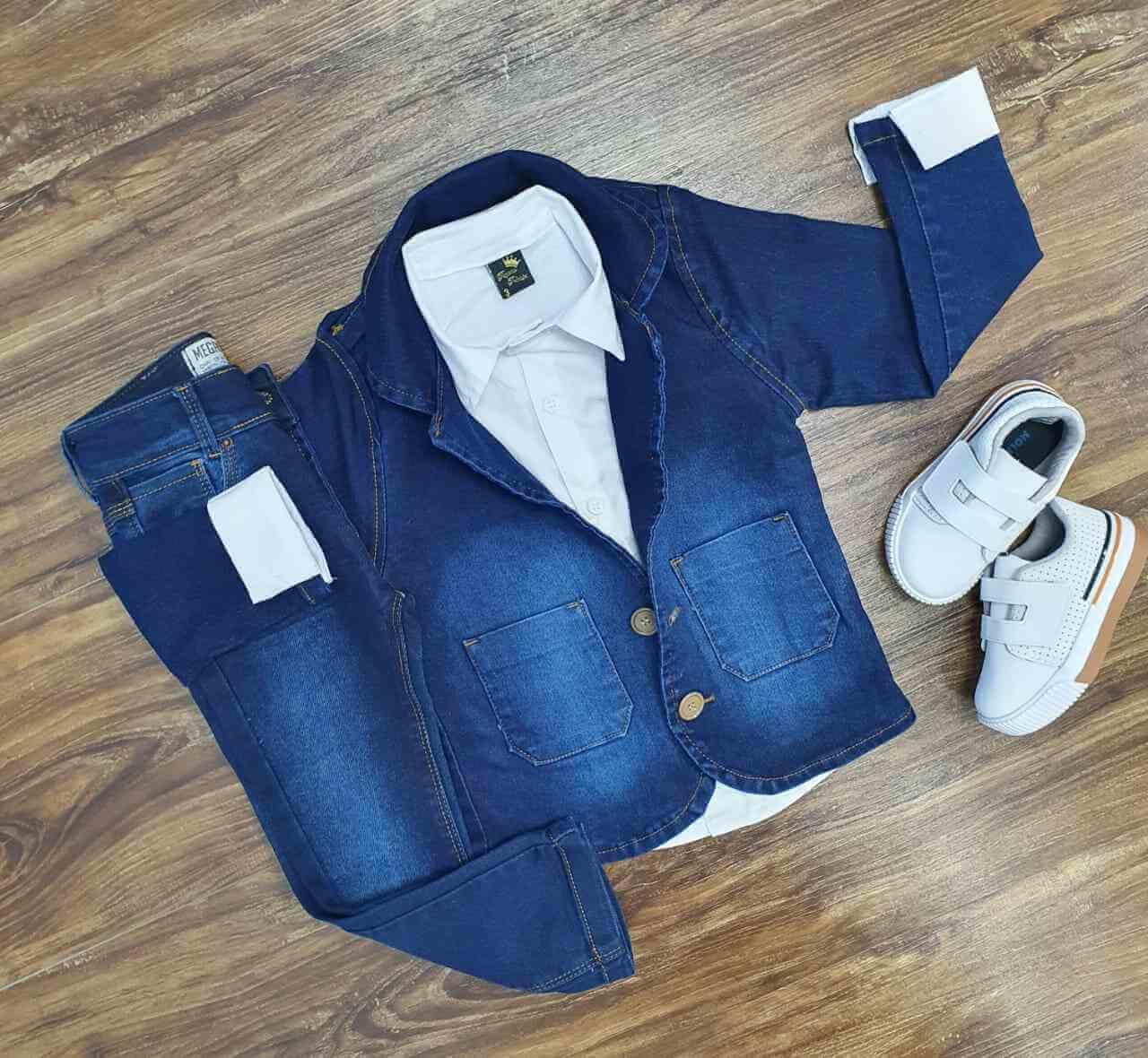 Blazer Jeans Escuro com Camisa e Calça Jeans Infantil