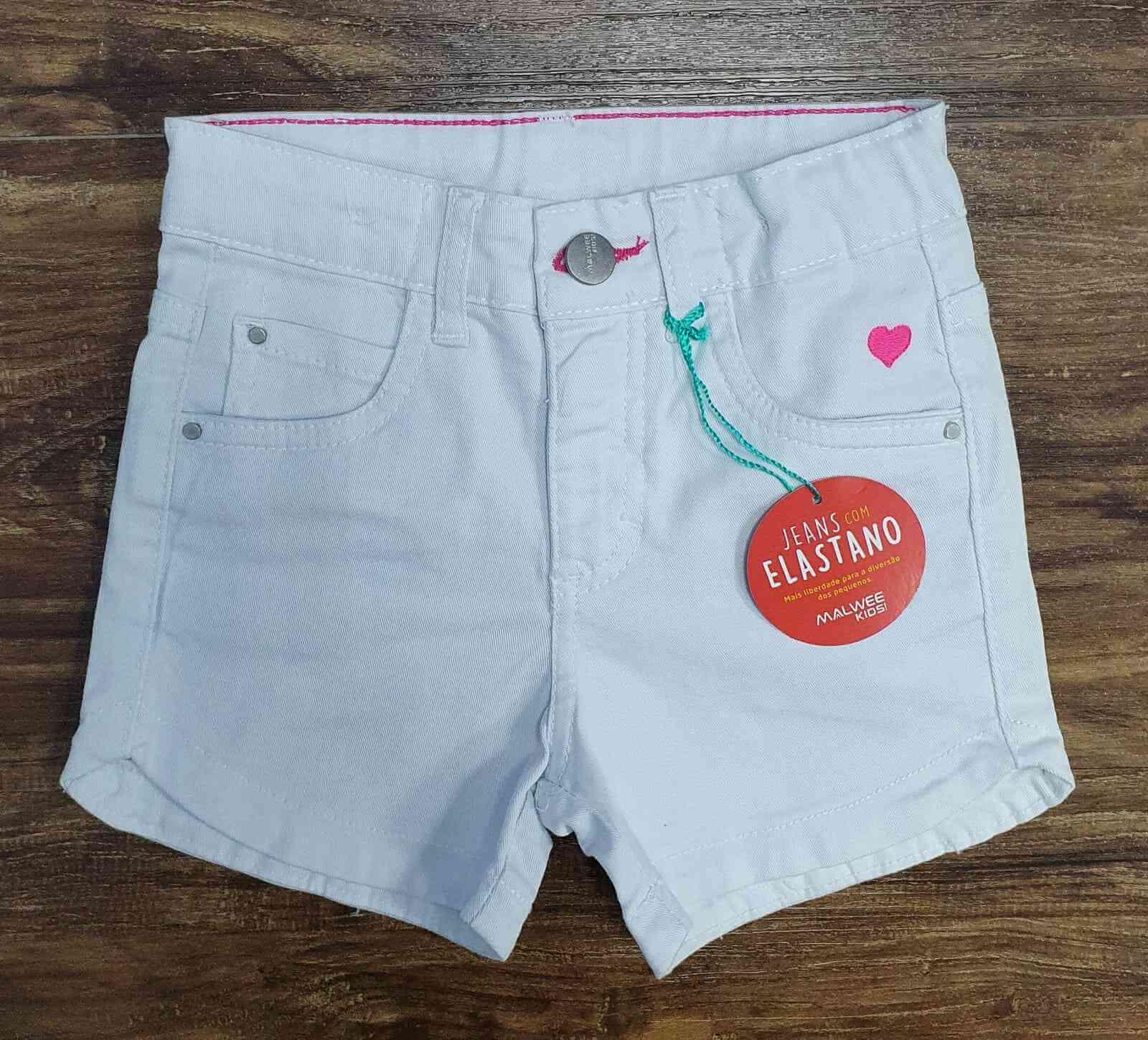Shorts Branco Jeans Infantil