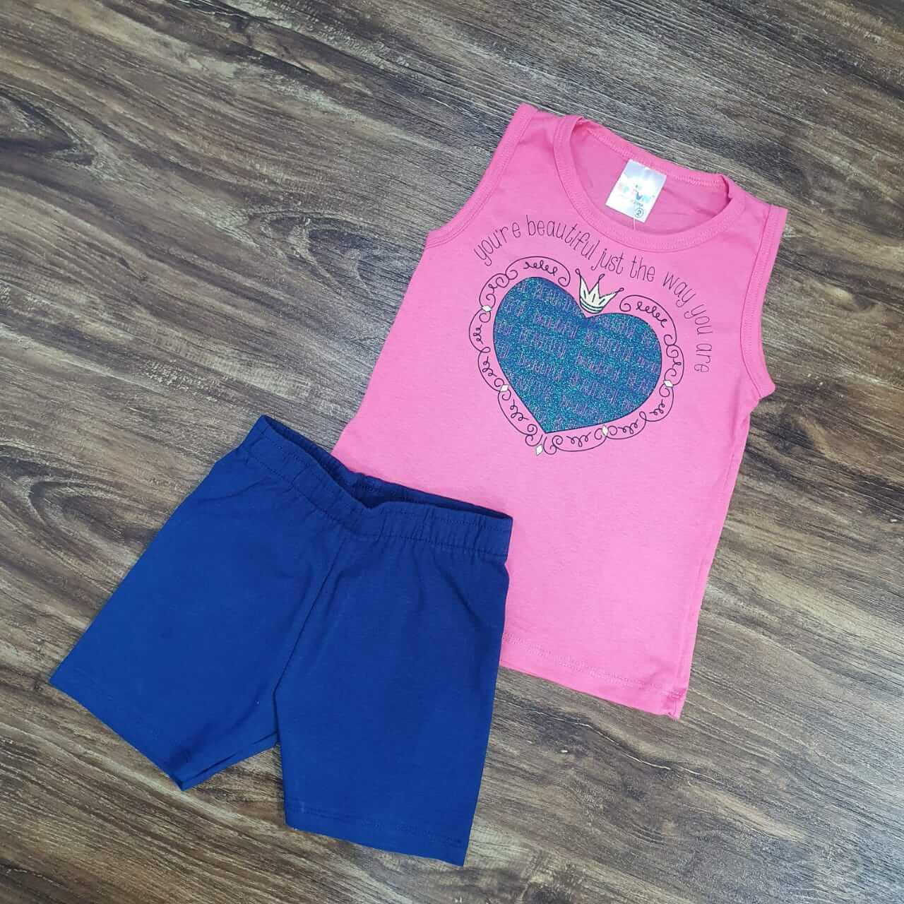 Shorts com Regata Coração Infantil
