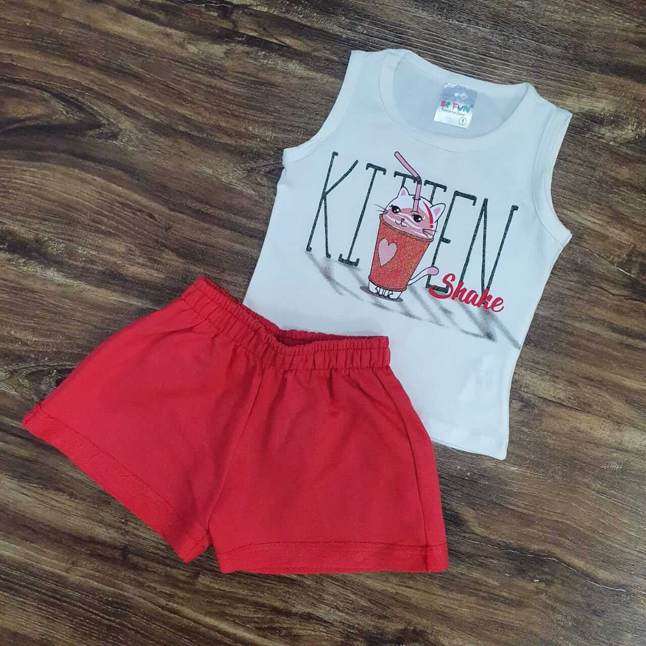 Shorts com Regata Kitten Infantil
