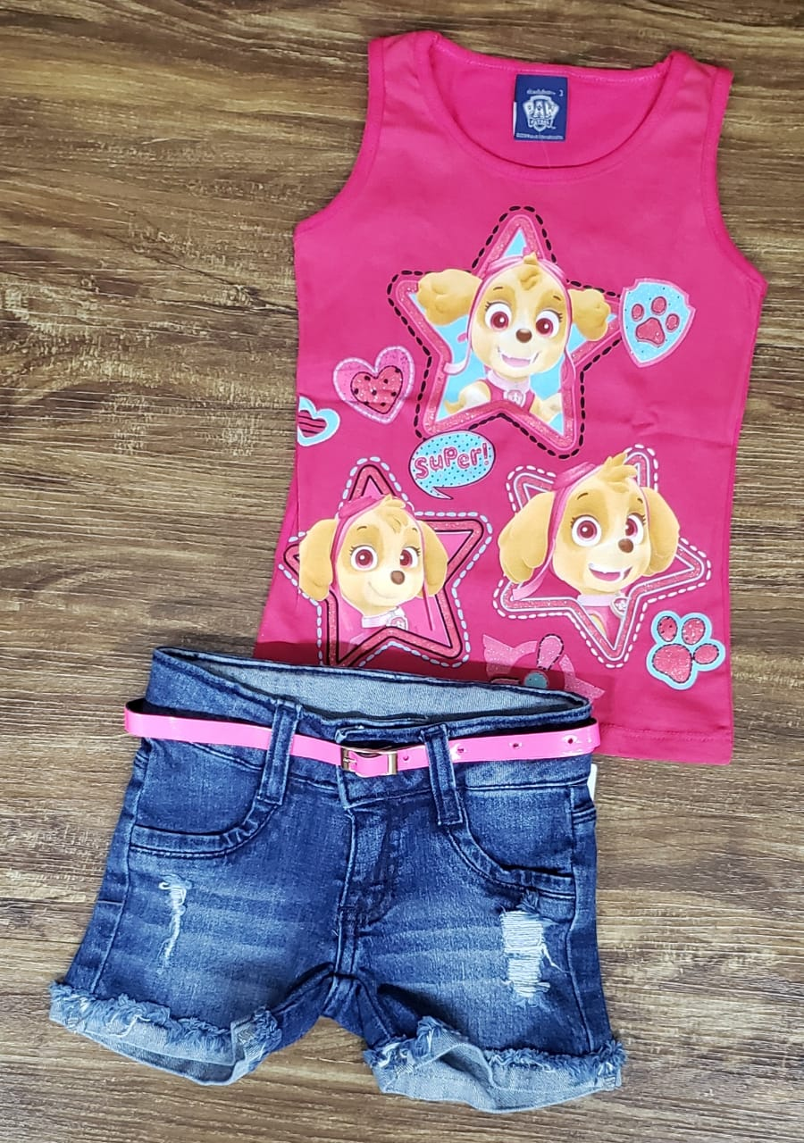 Shorts Jeans Com Blusa Patrulha Canina Rosa