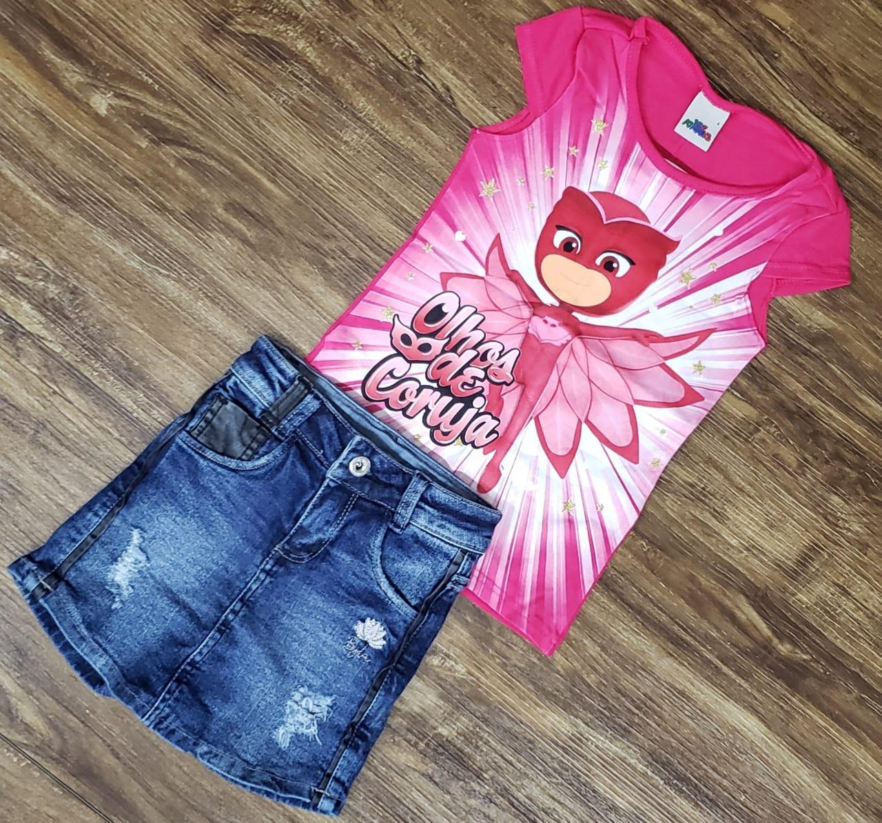 Shorts jeans Com Blusa Pj Masks