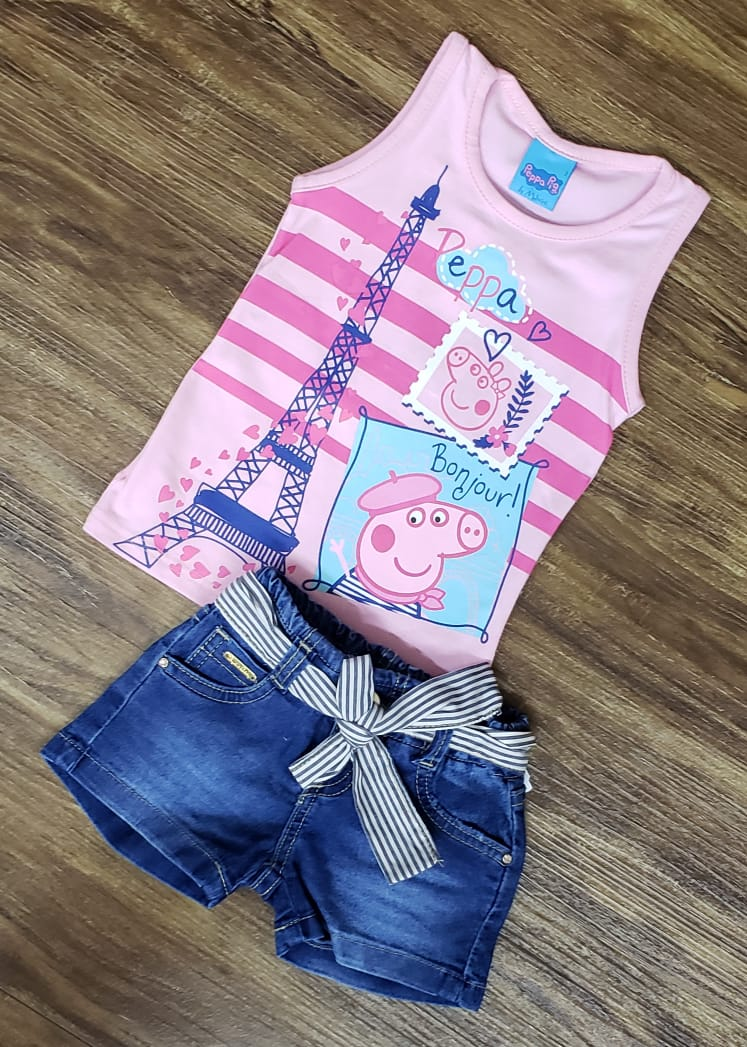 Shorts Jeans Com Blusa Rosa Peppa Pig