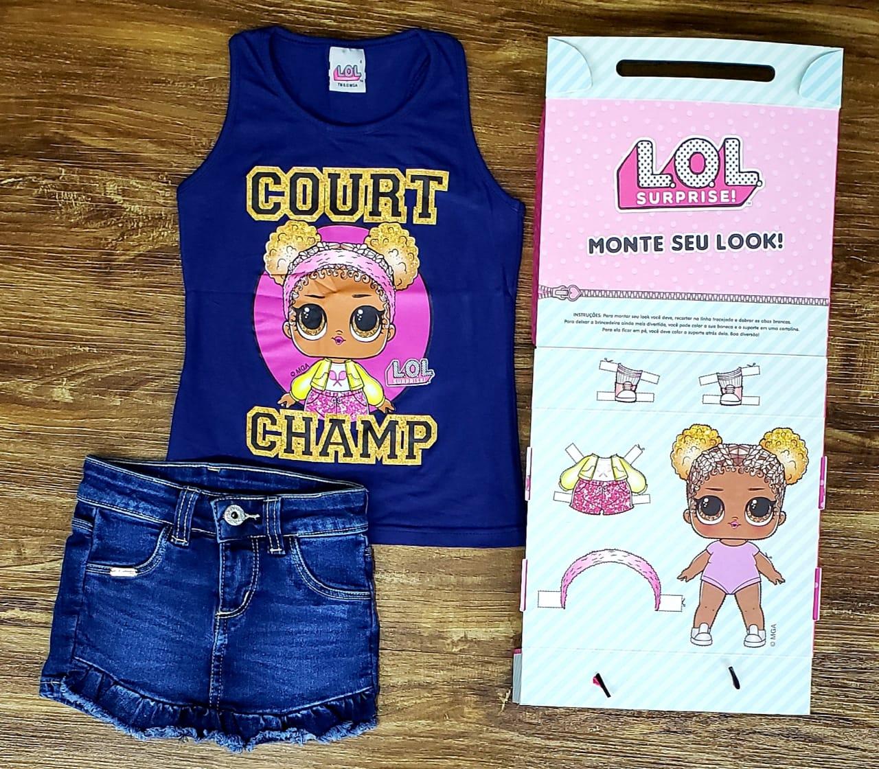 Shorts Jeans com Blusinha LOL Azul Marinho