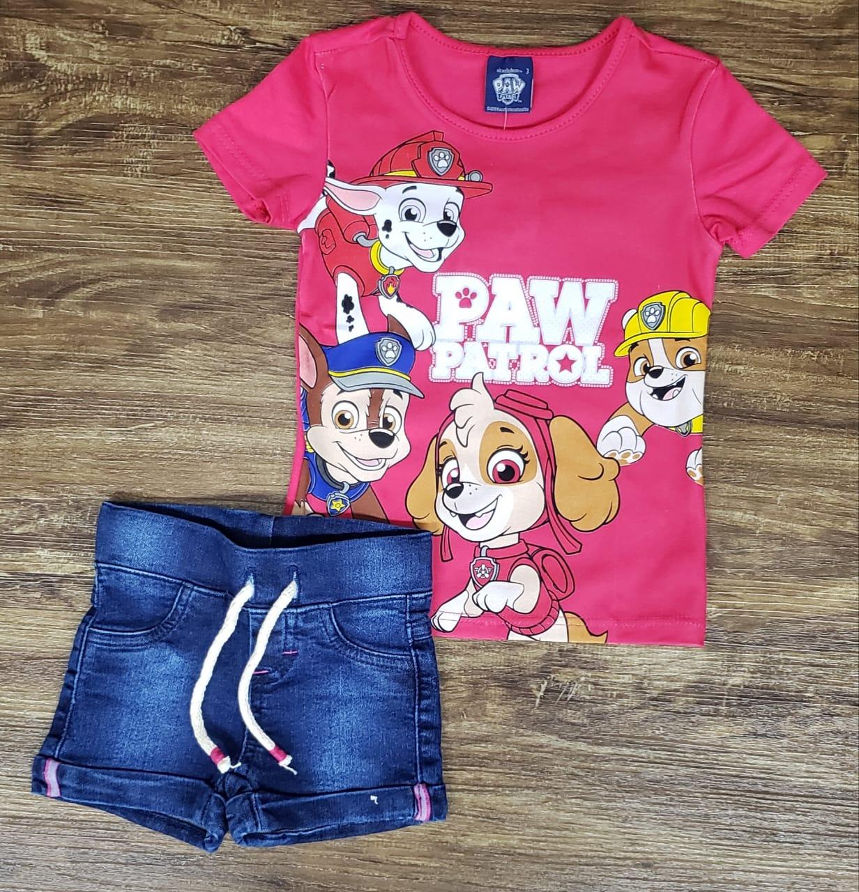 Shorts Jeans Com Blusinha Rosa