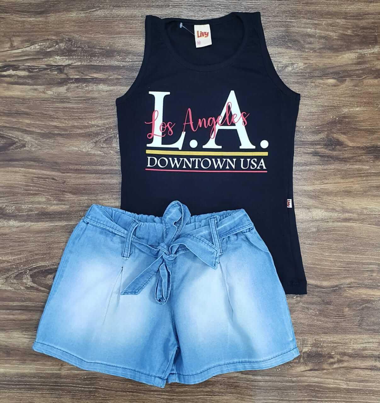 Shorts Jeans com Regata L.A. Infantil