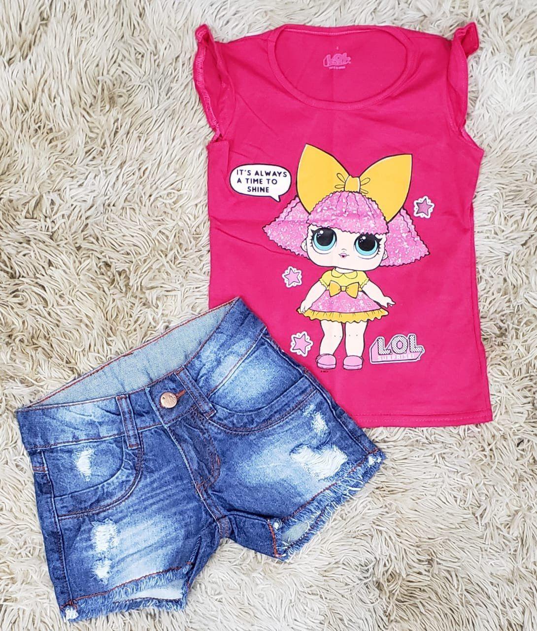 Shorts Jeans Destroyer com Blusinha LOL Rosa