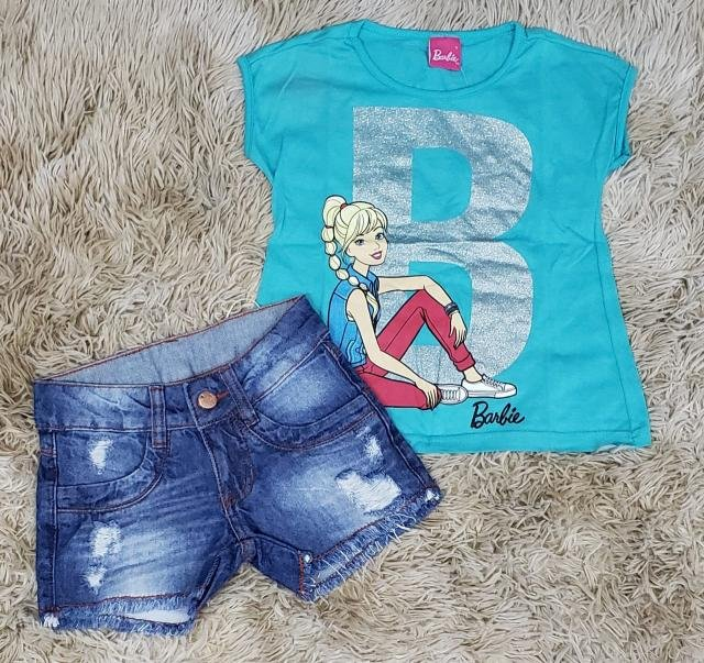 Shorts Jeans Destroyer com Camiseta Barbie Verde Água