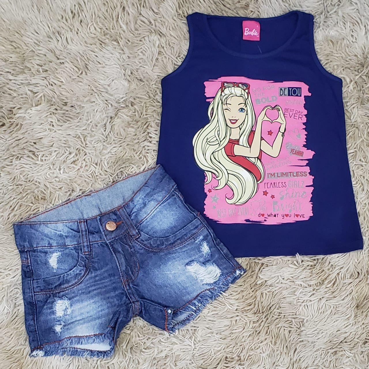 Shorts Jeans Destroyer com Regata Barbie Azul Marinho