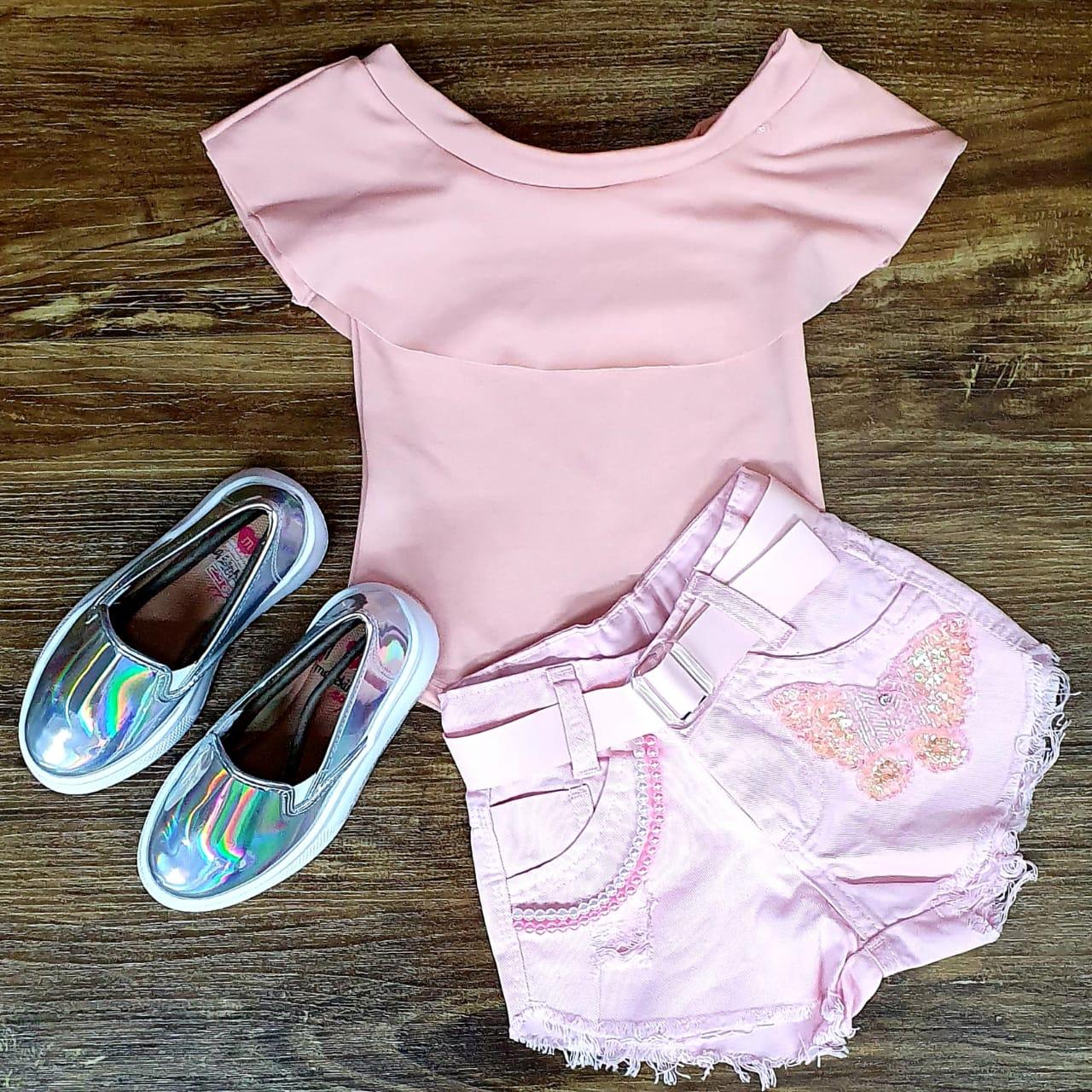 Shorts Rosa com Body