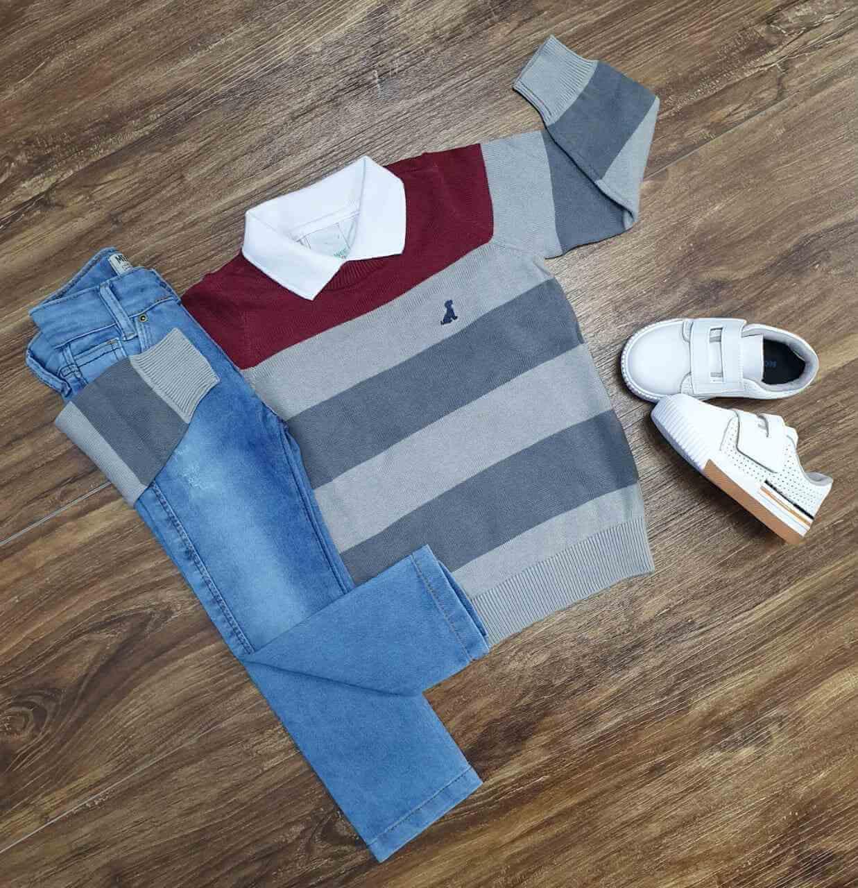 Suéter com Polo e Calça Jeans Infantil