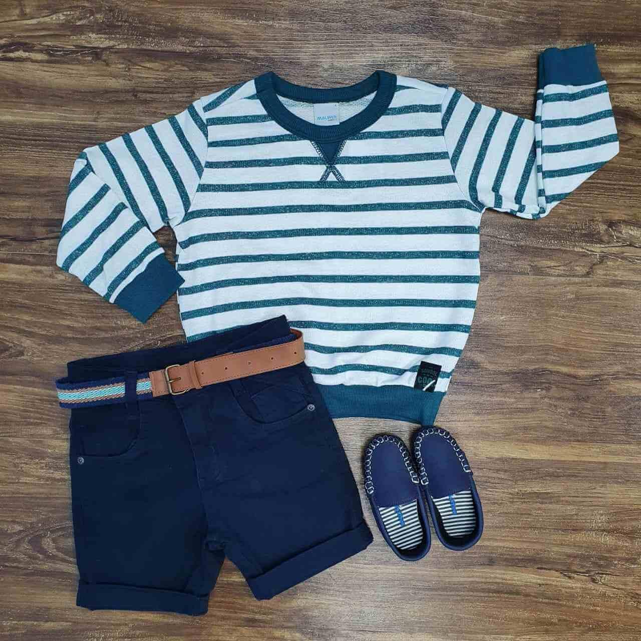 Suéter Listrado com Bermuda Infantil