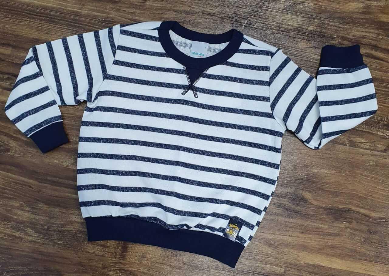 Suéter Branco com Azul Listrado Infantil