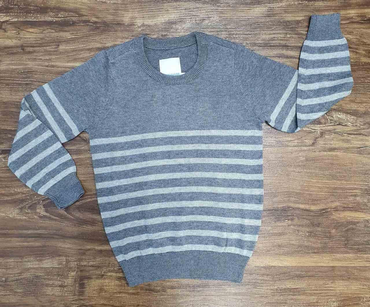 Suéter Cinza Listrado Infantil