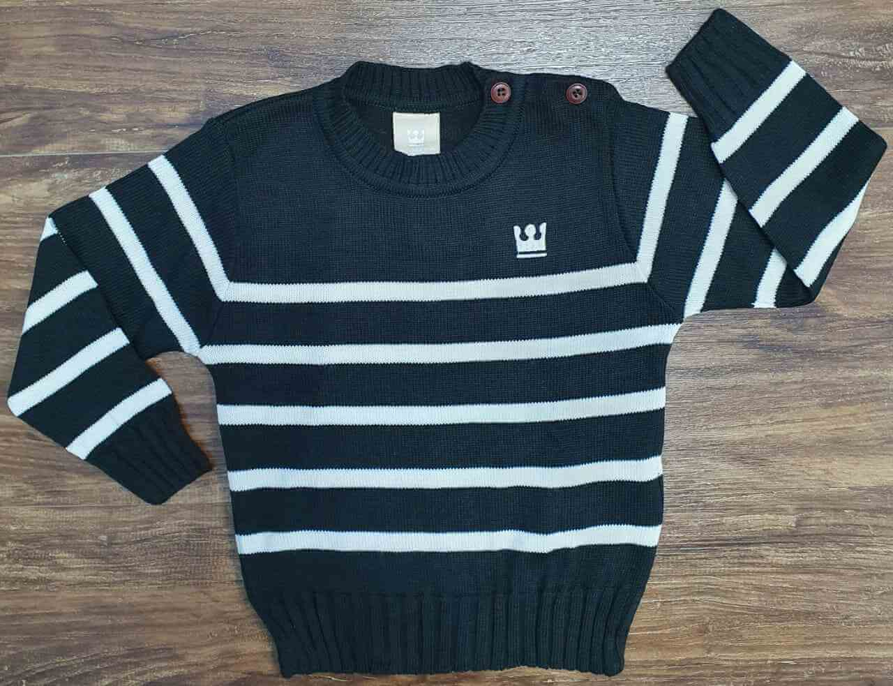 Suéter Listrado Preto e Branco Infantil