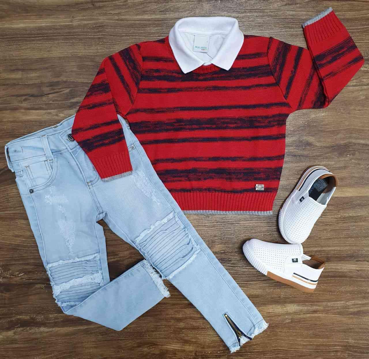 Suéter Vermelho com Polo e Calça Jeans Infantil
