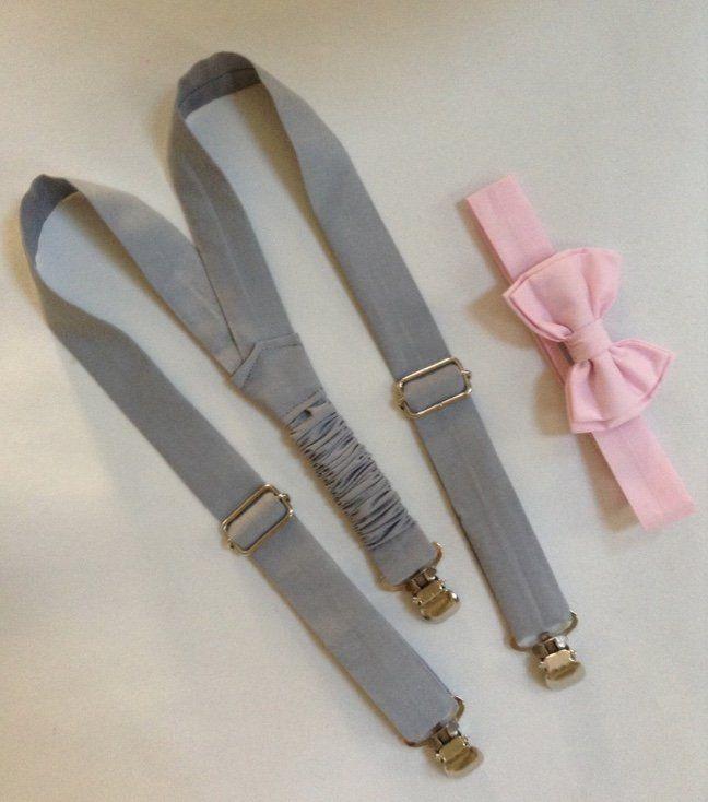 Suspensório Cinza e Gravata Borboleta Rosa Claro