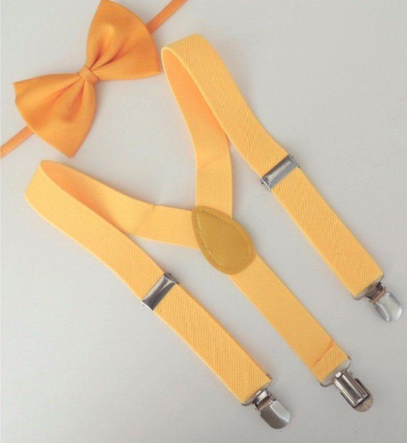 Suspensório e Gravata Borboleta Amarelo