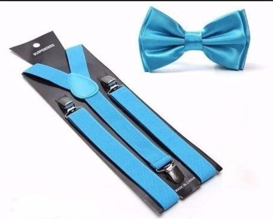 Suspensório e Gravata Borboleta Azul Claro