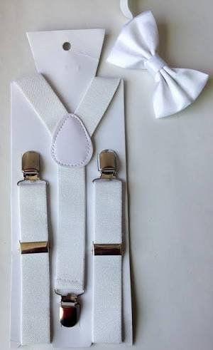 Suspensório e Gravata Borboleta Branca Lisa