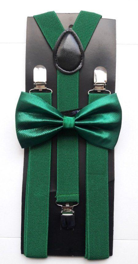 Suspensório e Gravata Borboleta Verde