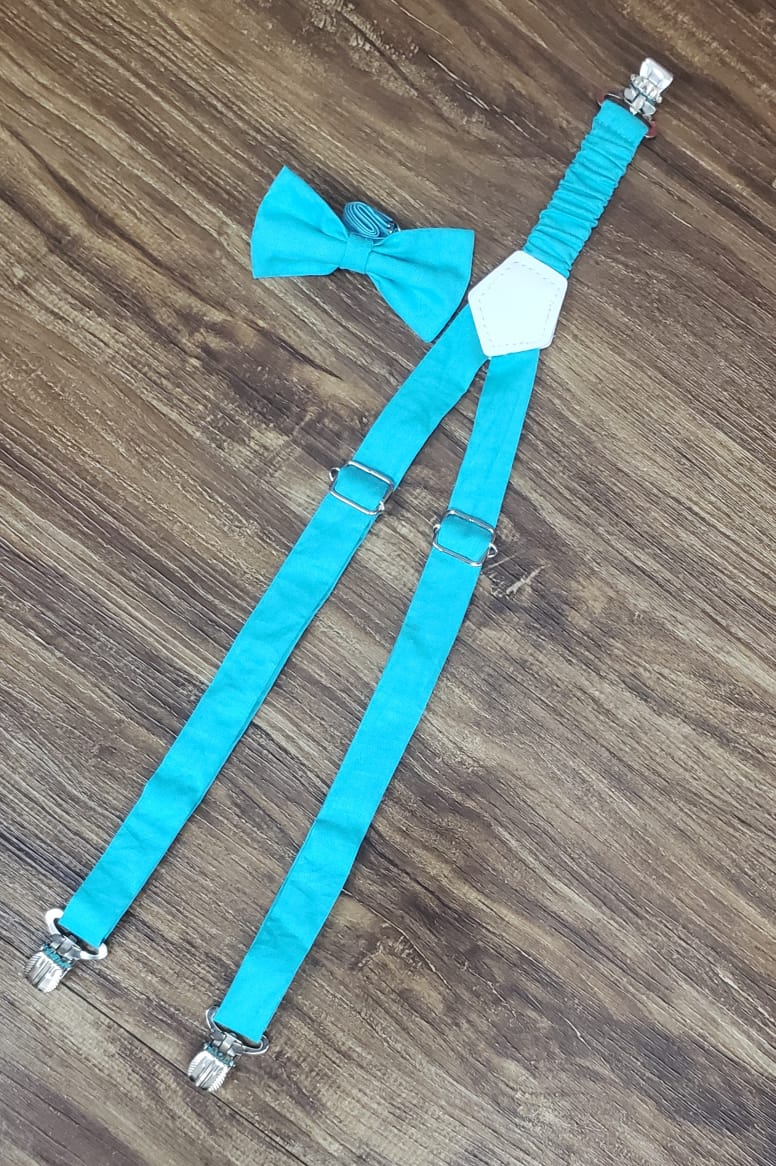 Suspensório e Gravata Borboleta Azul Tiffanny