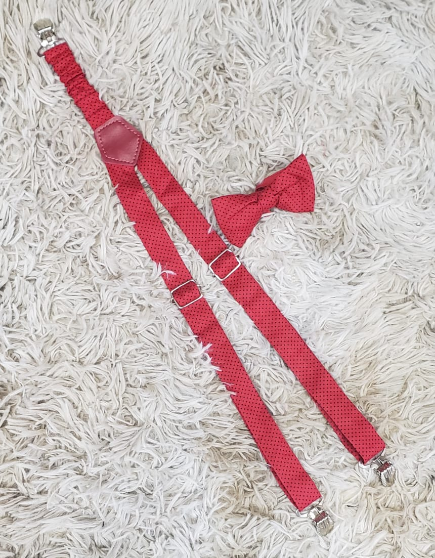 Suspensório e Gravata Borboleta Vermelho