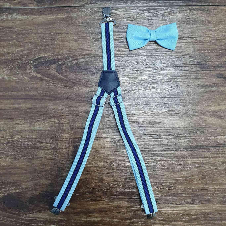 Suspensório e Gravata Listrado Azul