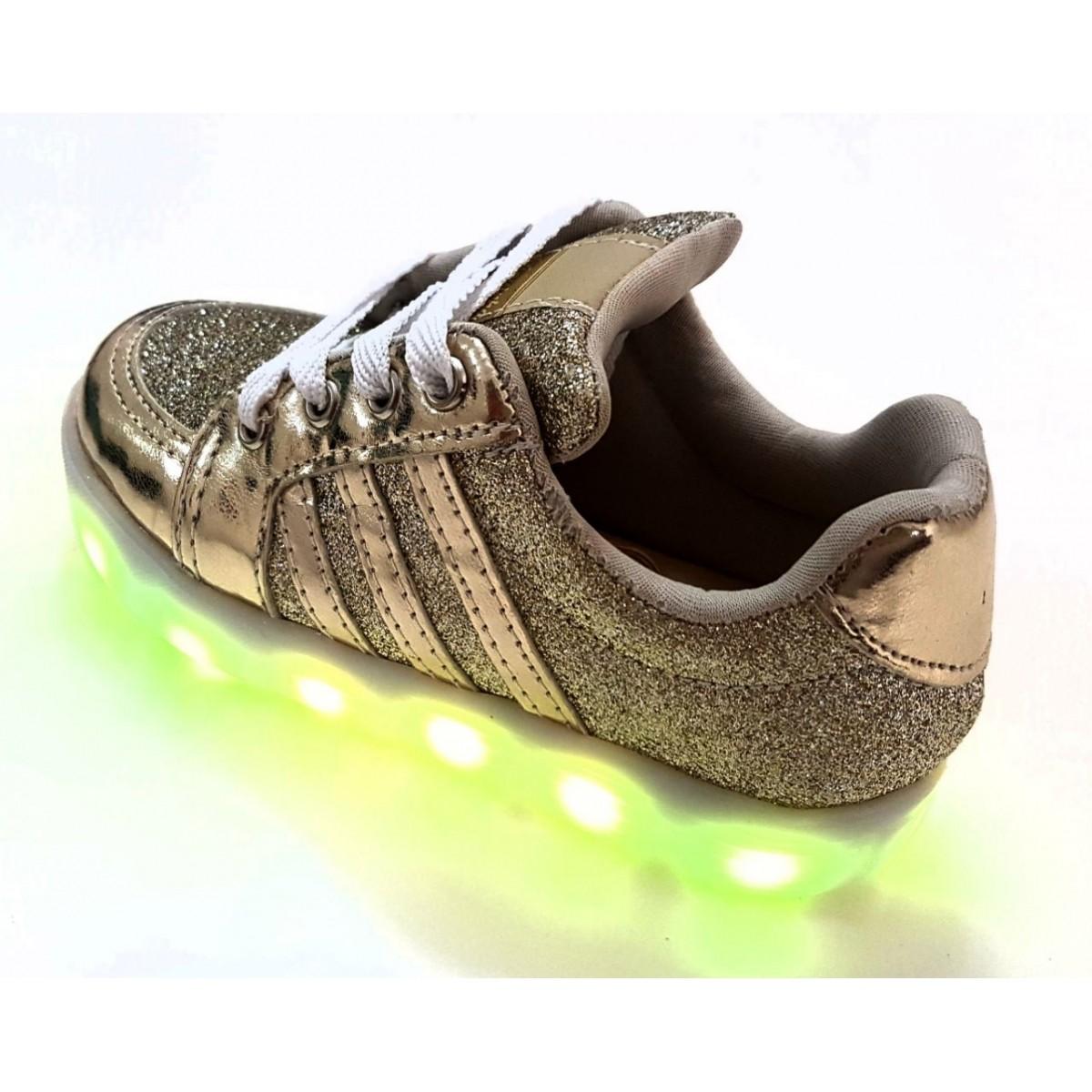 Tênis de Led Ouro-Glitter Carregável