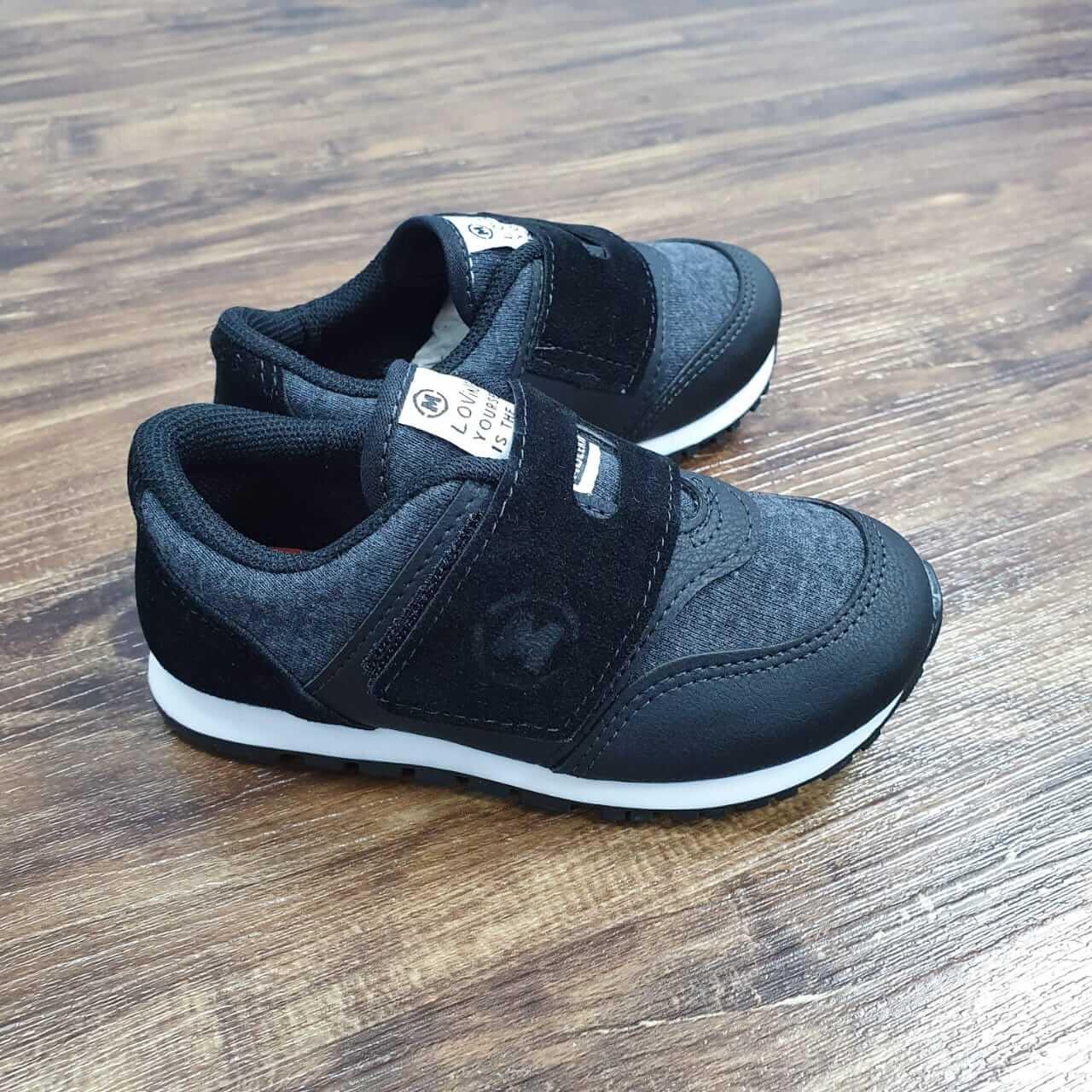 Tênis de Velcro Preto Camurça Infantil