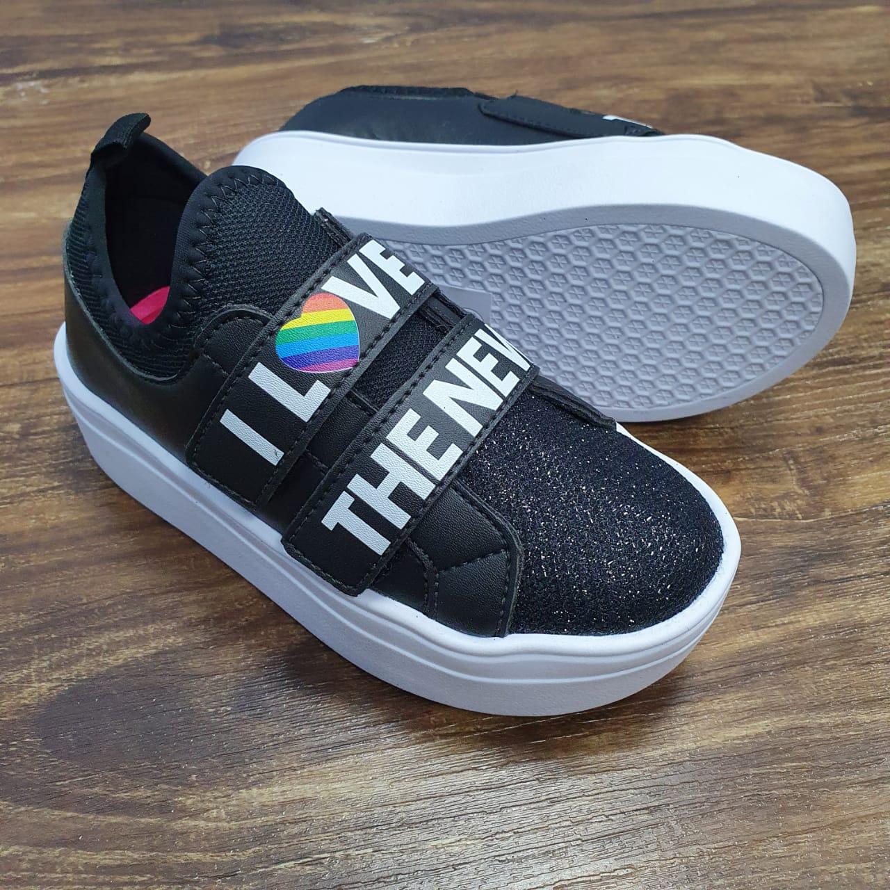 Tênis I Love Preto Velcro Infantil