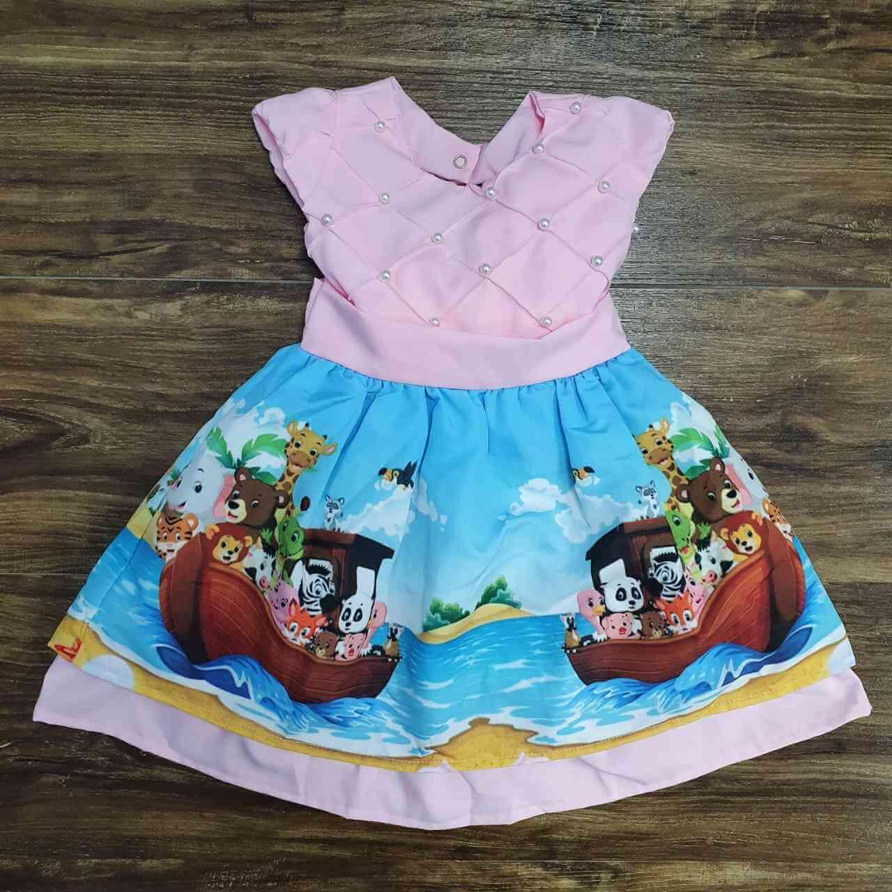 Vestido Arca de Noé Rosa Infantil