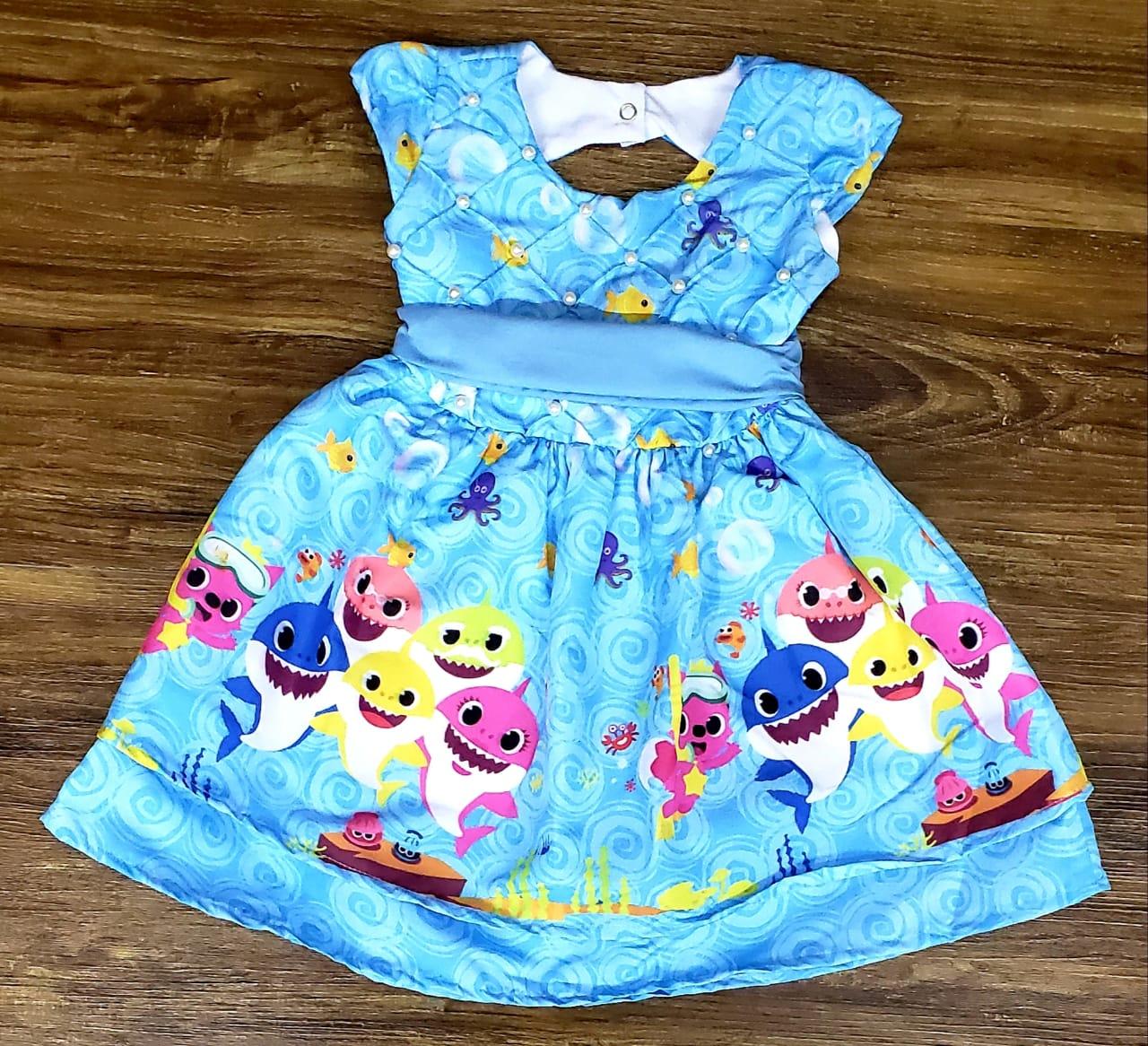 Vestido Azul Baby Shark Infantil