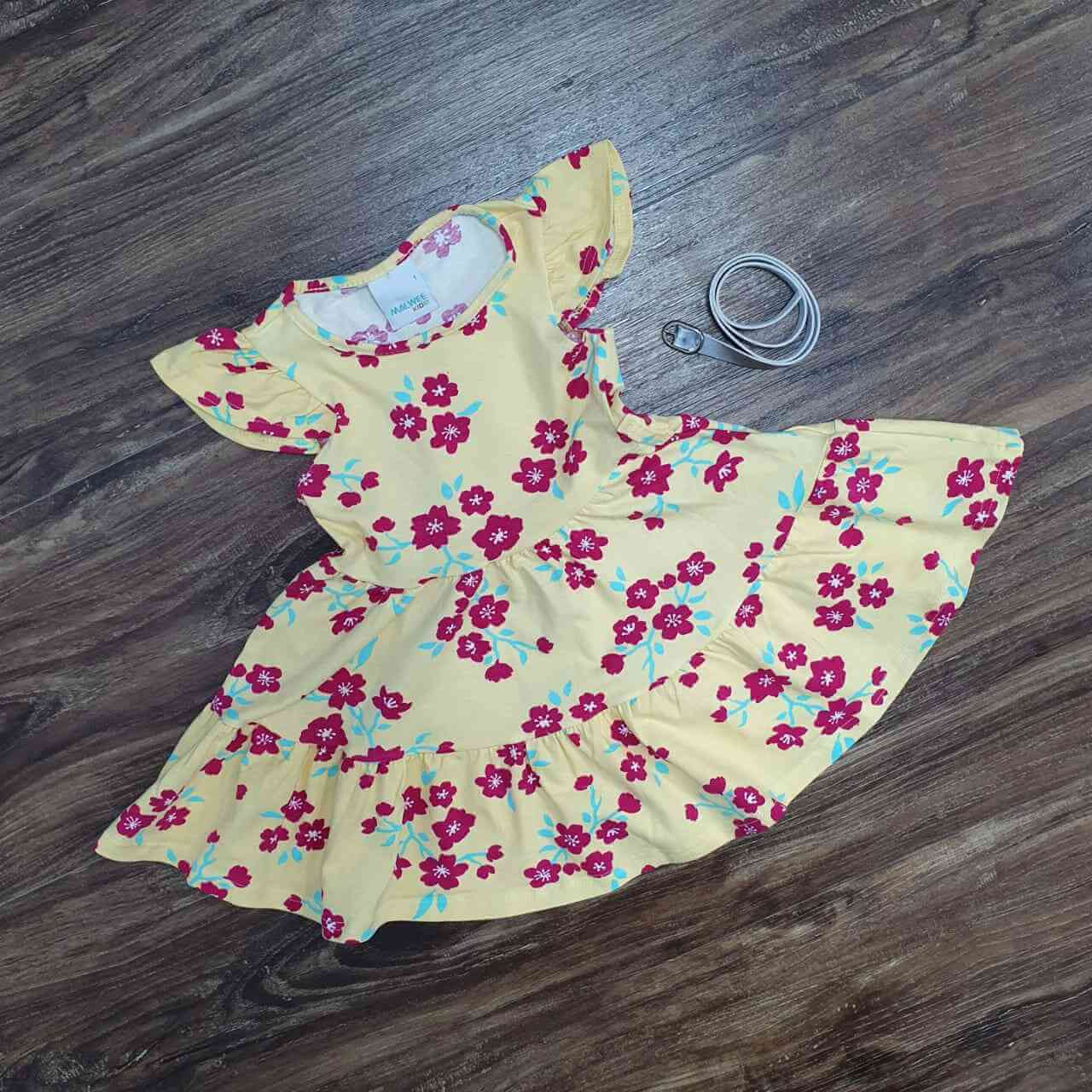 Vestido Curto Amarelo Flores Infantil