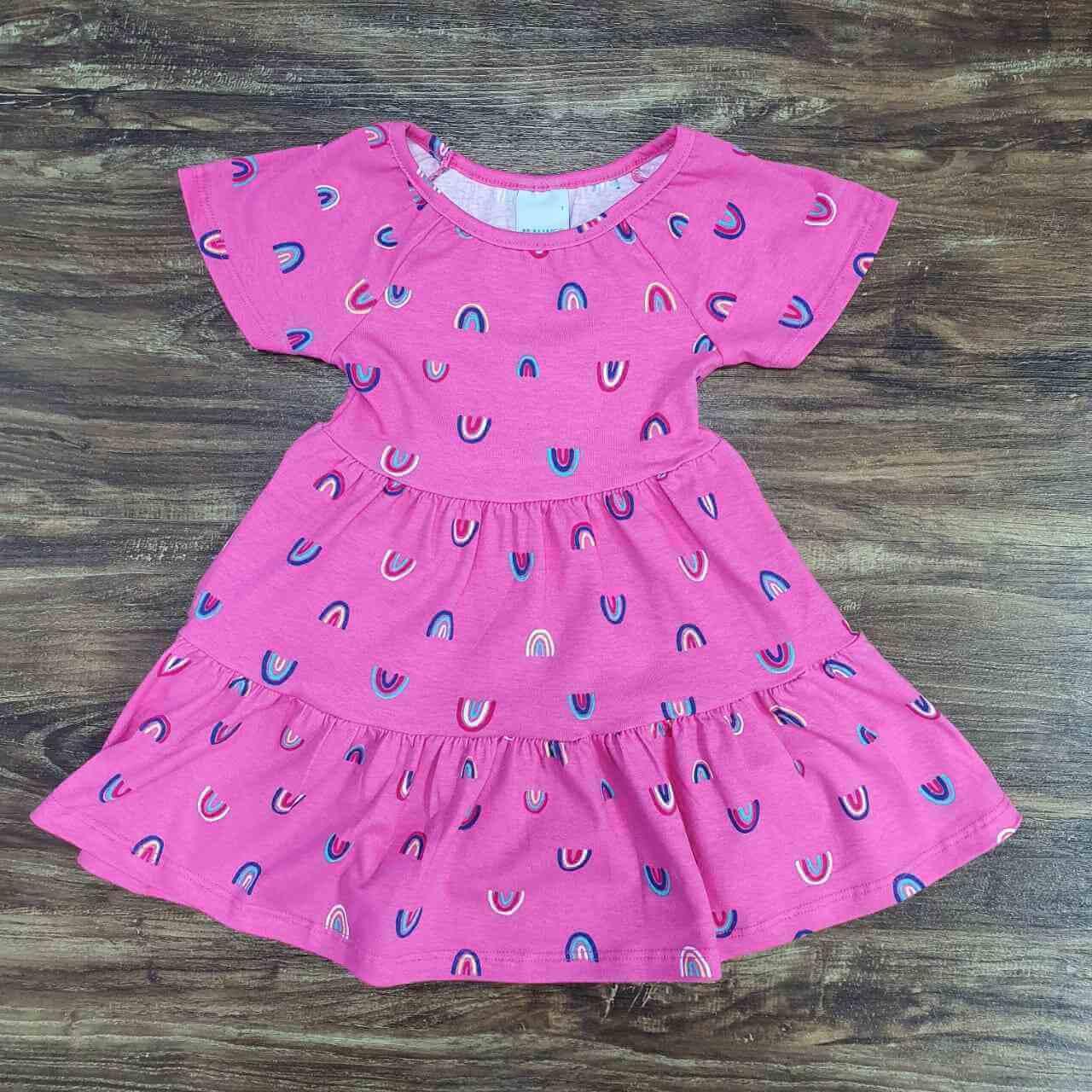 Vestido Curto Arco-íris Infantil
