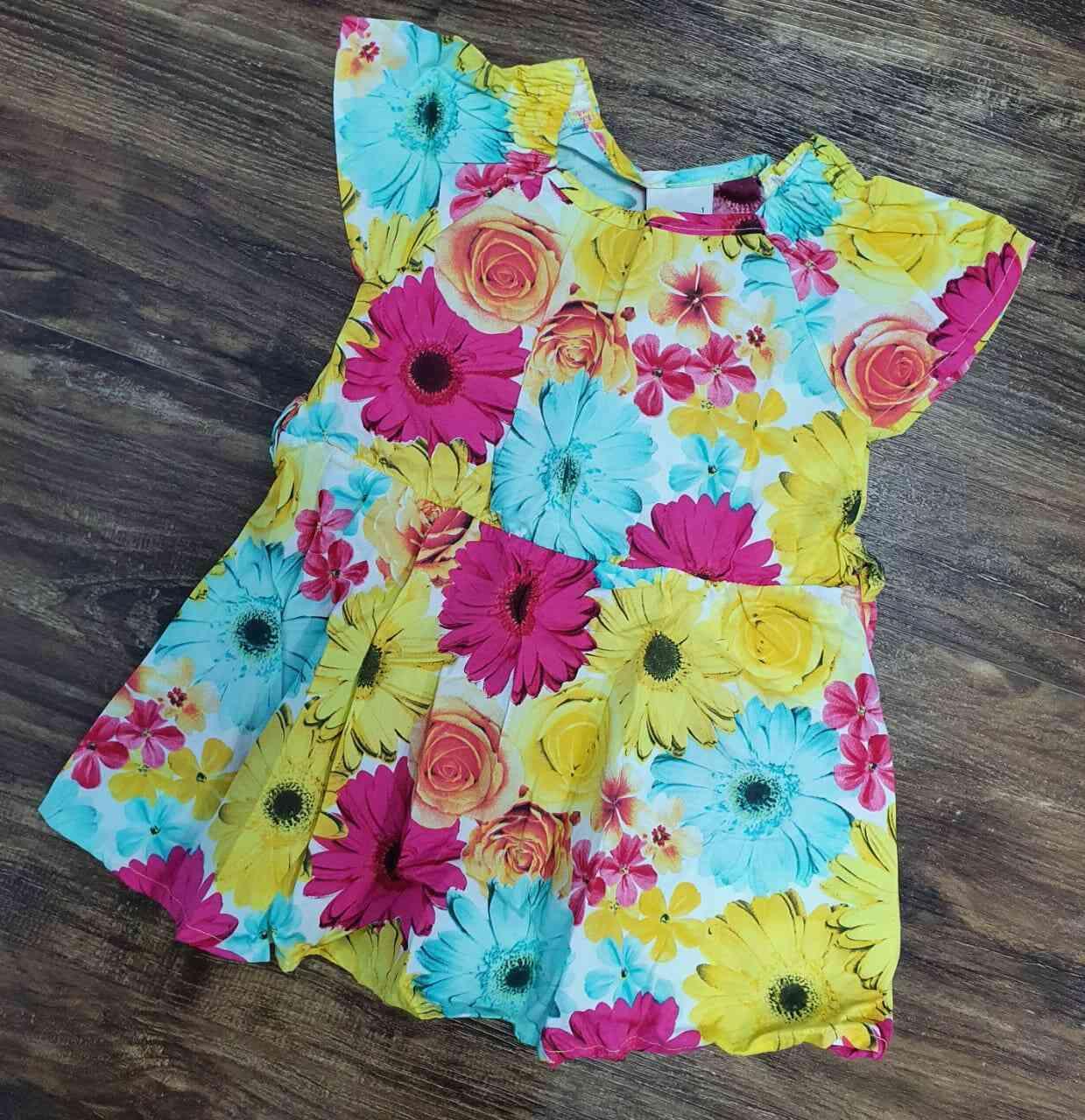 Vestido Curto Flores Infantil
