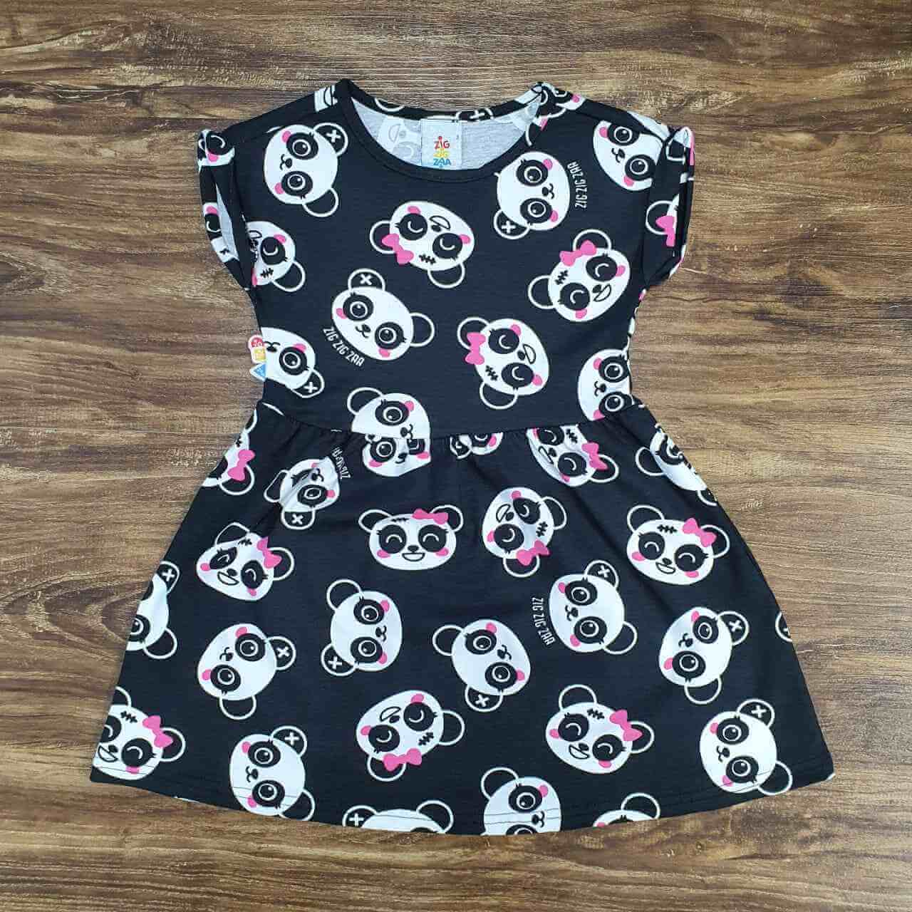Vestido Curto Panda Infantil