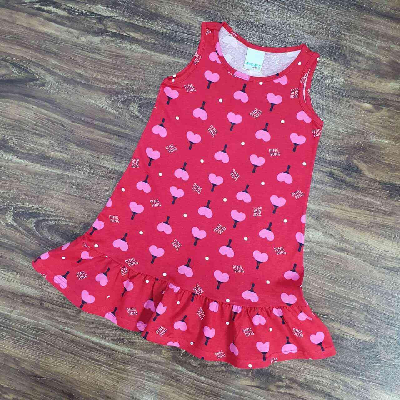Vestido Curto Piing Pong Infantil