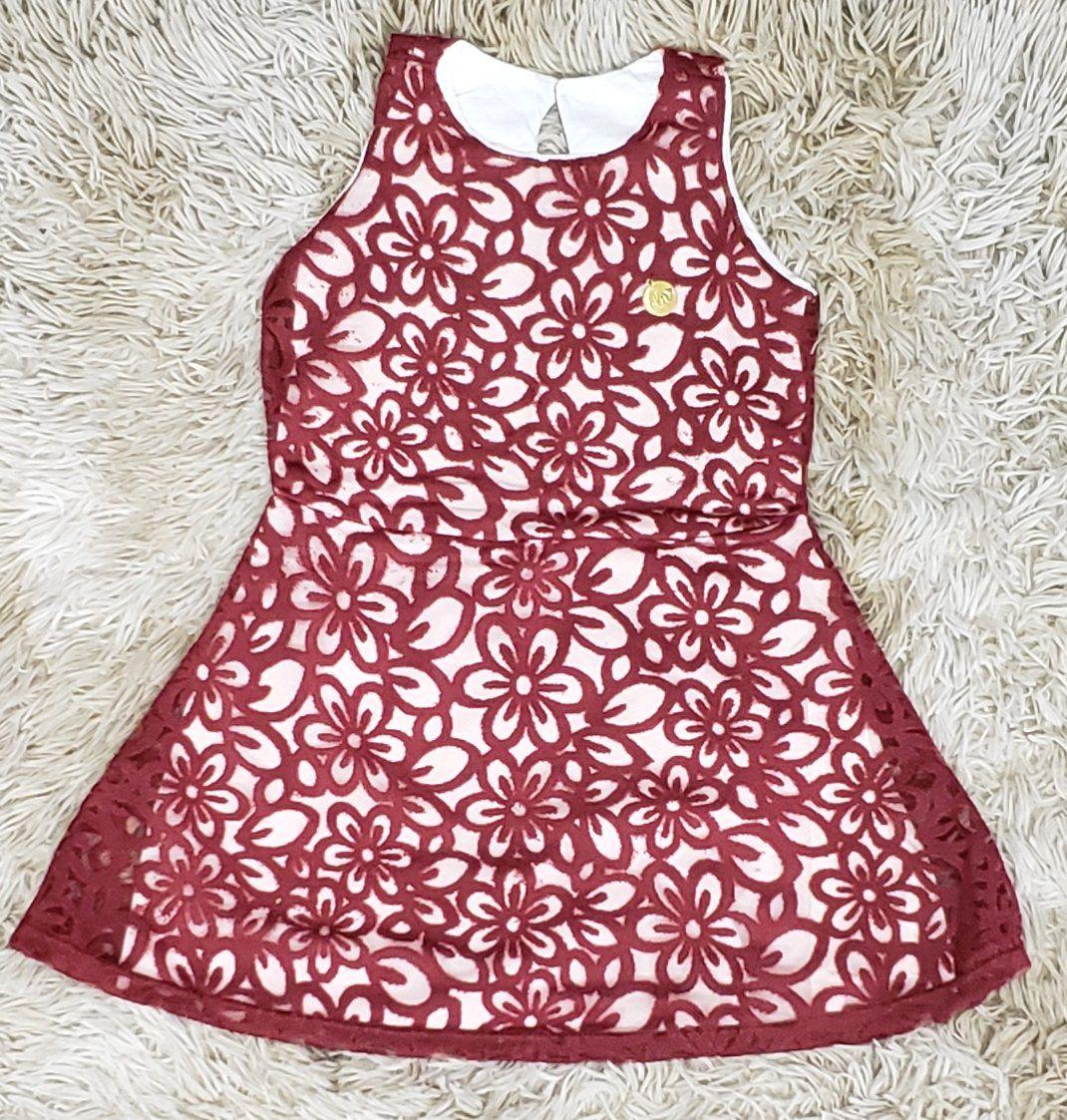 Vestido Floral Vinho Infantil