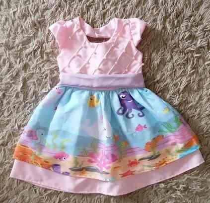 Vestido Fundo do Mar Infantil