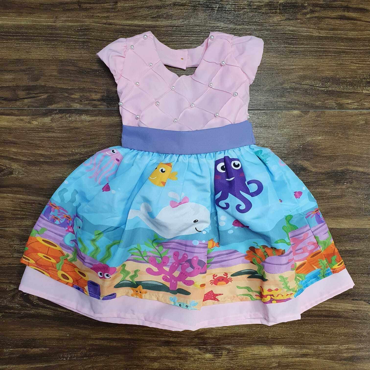 Vestido Fundo do Mar Rosa Infantil
