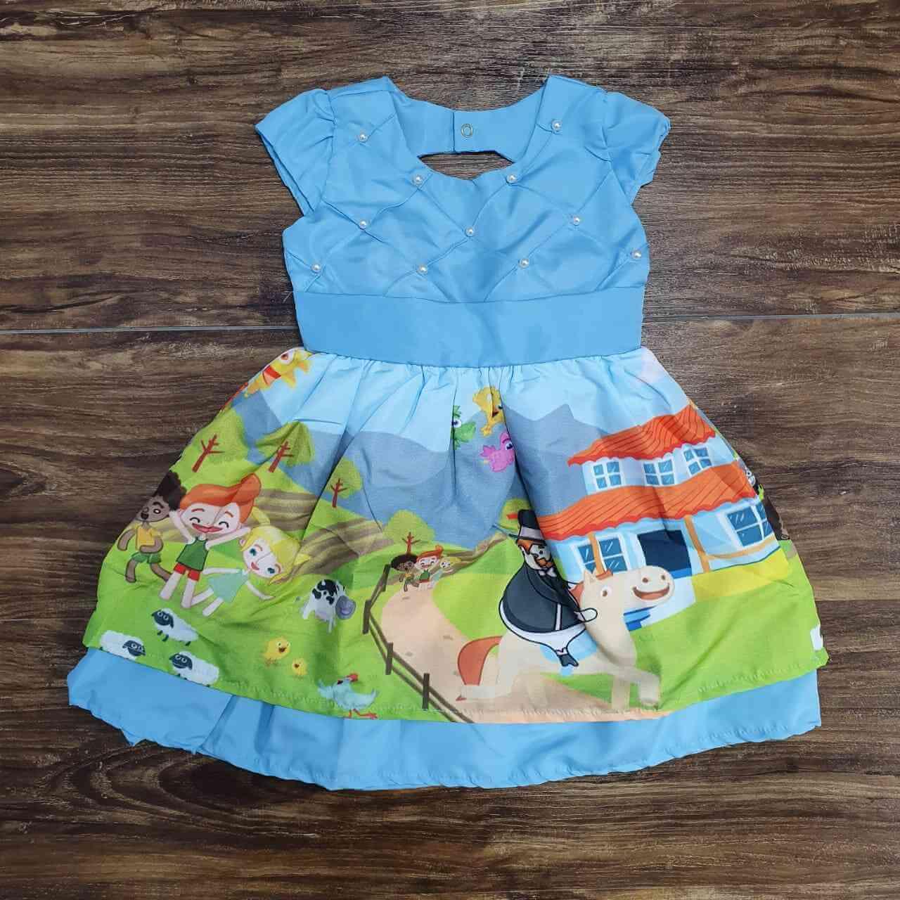 Vestido Mundo Bita Azul Infantil