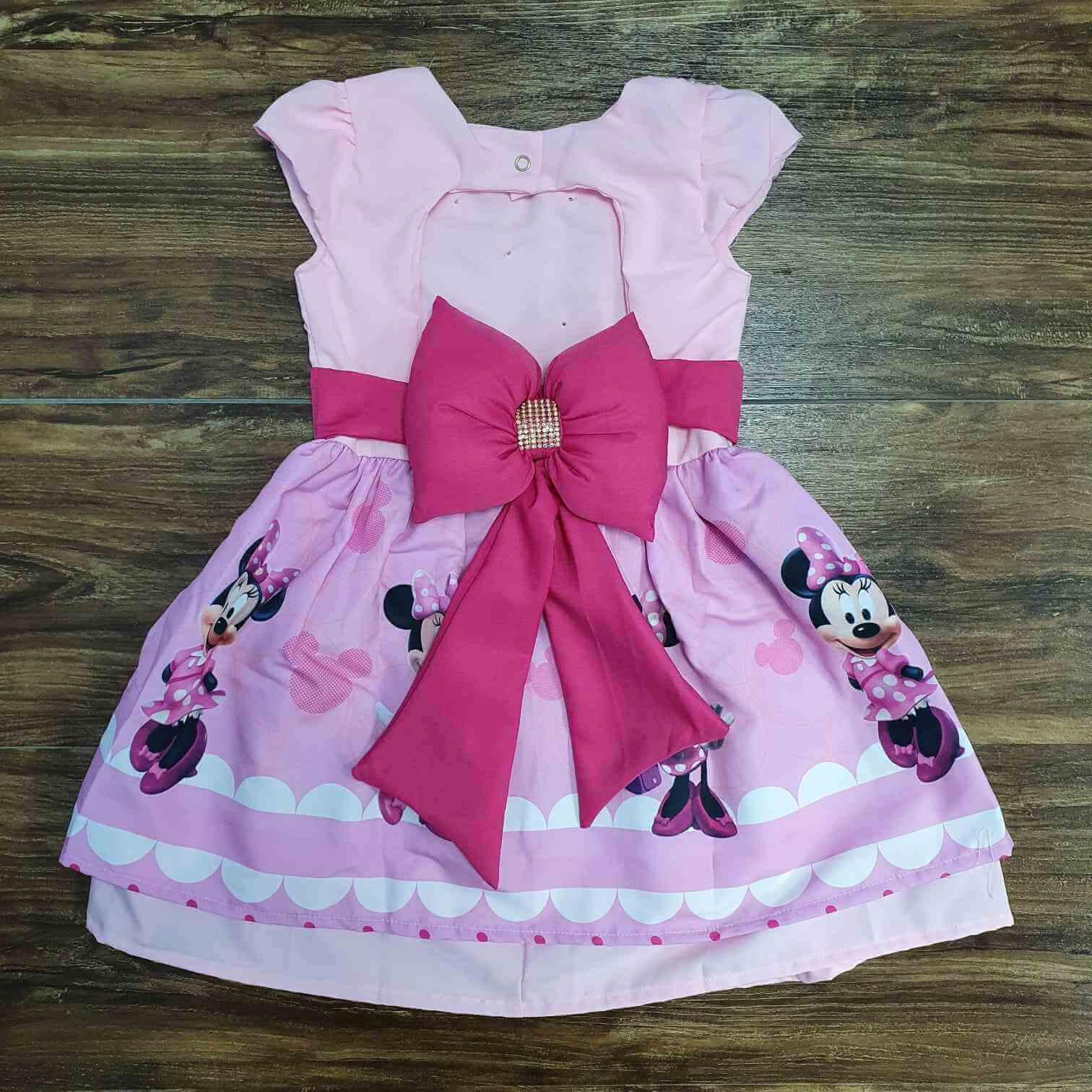 Vestido Rosa Minnie com Faixa Infantil